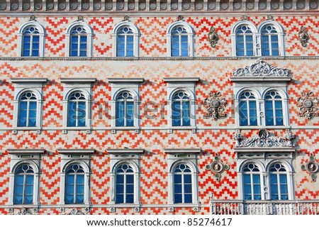 Facade of an old traditional building in Italy, Europe - stock photo