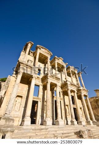 Facade of ancient Celsius Library in Ephesus, Turkey  - stock photo