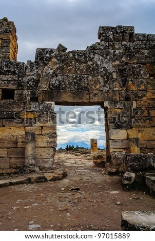 Facade of ancient Celsius Library in Ephesus, Turkey - stock photo