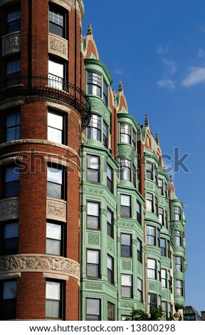 Facade of Barnes Mansion in Boston. Verdigris (copper patina) awning on bay windows gives it a distinctive look. - stock photo