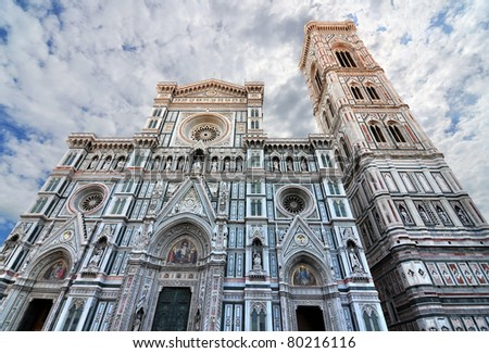 facade of Basilica di Santa Maria del Fiore and Giotto's Bell Tower - stock photo