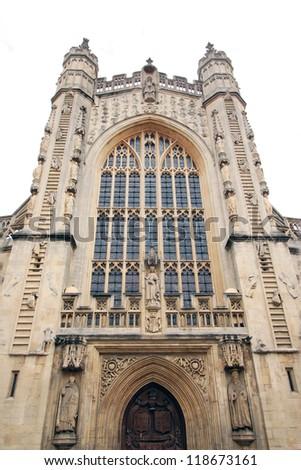 Facade of Bath Cathedral, England - stock photo