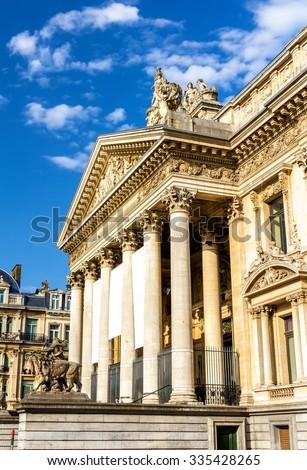 Facade of Brussels Stock Exchange - Belgium - stock photo