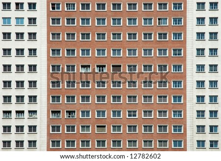 Facade of building on Plaza de Espana, Madrid - stock photo