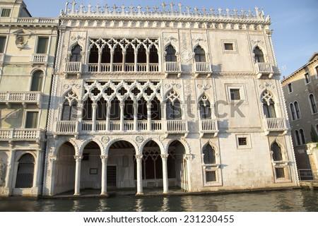 Facade of Ca D'Oro palace in Venice ( Palazzo Santa Sofia known as Golden House), Italy - stock photo