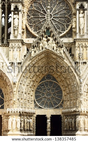 Facade of Cathedral Notre-Dame de Reims, France - stock photo