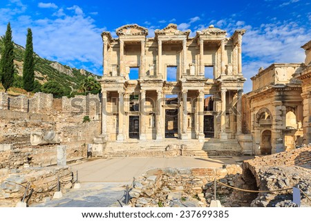 Facade of Celsius Library at the ancient city of Ephesus, Turkey - stock photo