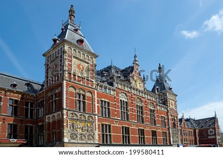 Facade of Central Station in Amsterdam the Netherlands.