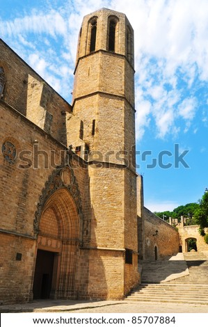 Facade of Church of Monastery of Pedralbes in Barcelona, Spain