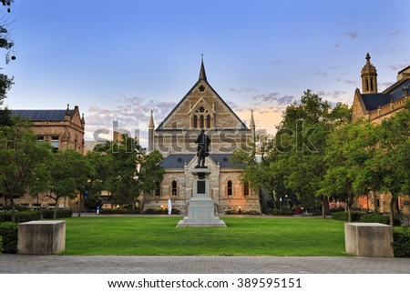 facade of classical gothic building and monument statue of University of Adelaide in South Australia - stock photo
