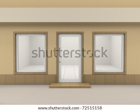 Facade of empty shop with a signboard - stock photo