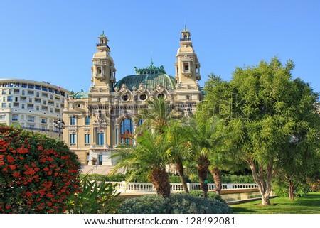 Facade of famous Opera de Monte-Carlo (Salle Garnier) as part of Monte Carlo Casino in Monaco. - stock photo