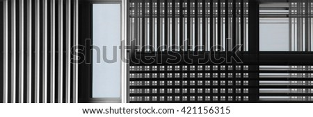 Facade of fictional contemporary building viewed through jalousie /  blinds / shutters. Smart double exposure photo with checkered / geometric structure. Architectural detail with windows and walls. - stock photo