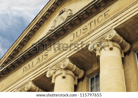 Facade of french Court House, Sarreguemines, Moselle, Lorraine, France