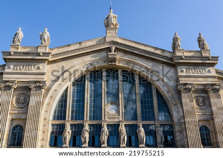 Facade of Gare du Nord in Paris. Train Station. - stock photo