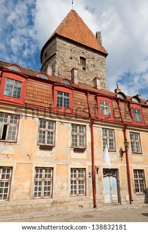 Facade of house in old town. Tallinn, Estonia - stock photo