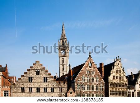 Facade of houses along the Graslei in Ghent, Belgium  - stock photo