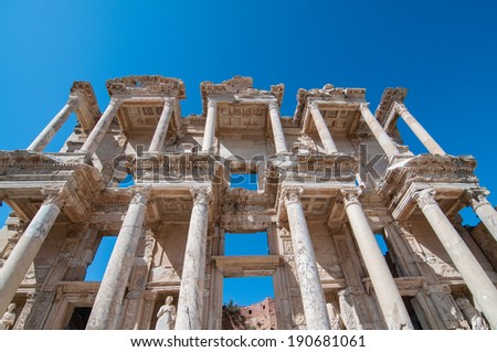 Facade of Library of Celsus in Ephesus, Anatolia.