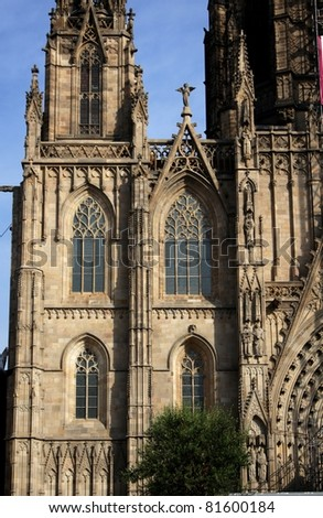Facade of main Cathedral of Barcelona in Old Town - stock photo