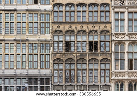 Facade of medieval houses at Grote Markt square in Antwerp, Belgium