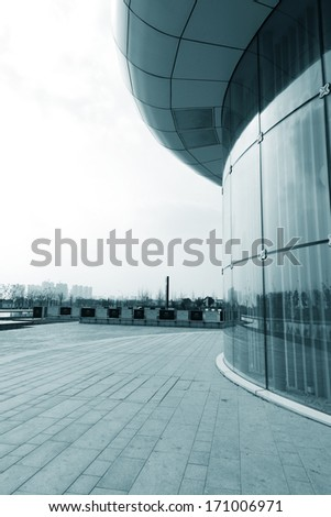 Facade of modern Business Center with glass doors - stock photo