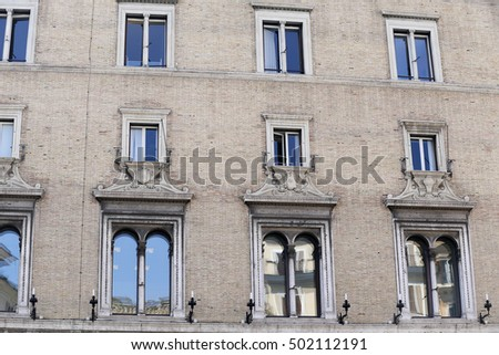 facade of old building in rome, italy