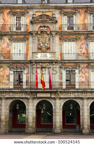 facade of old building on Plaza Mayor, Madrid, Spain - stock photo