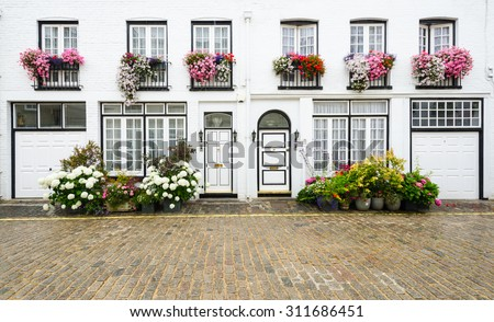 Facade of old house in London. England, UK - stock photo