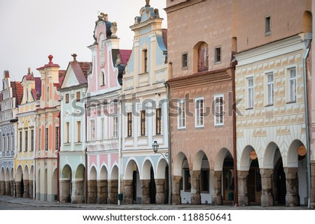 Facade of Renaissance and Baroque houses in Telc, South Moravia, Czech Republic - UNESCO world heritage site - stock photo