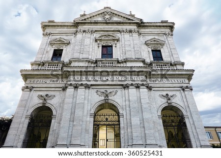 facade of San Gregorio Magno church by Giovanni Battista Soria, 1629-33 on the Caelian Hill, Rome, Italy