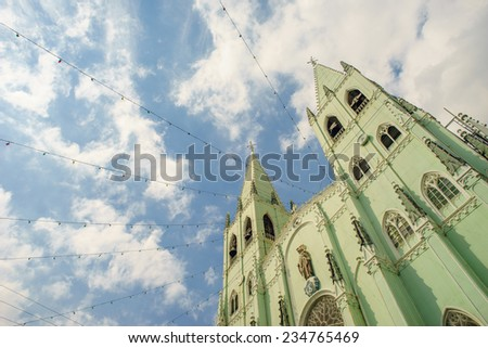 Facade of San Sebastian Church, Manila - stock photo