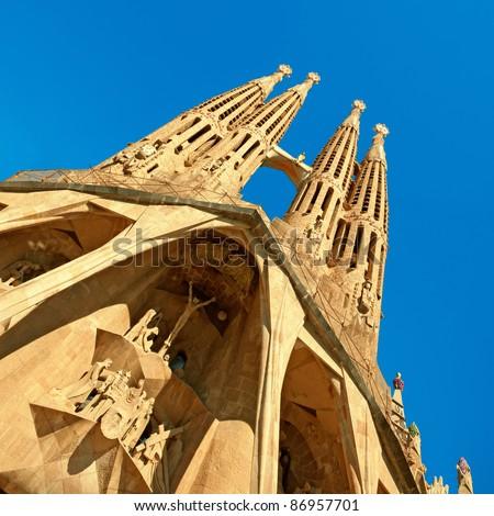 Facade of Sangrada Familia church. Barcelona - Spain. - stock photo