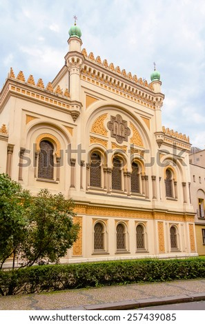 Facade of Spanish Synagogue, located in the Josefov district of Prague, in Czech Republic - stock photo