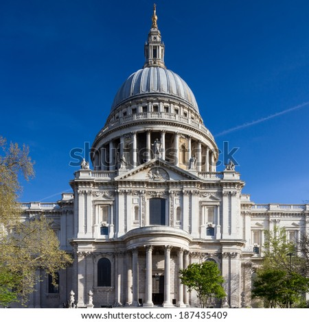 Facade of St. Paul's cathedral, London, England - stock photo