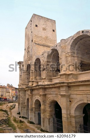 Facade of the arena in Arles - stock photo