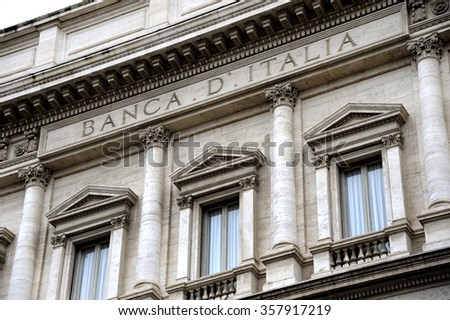 Facade of the Bank of Italy in Rome - stock photo
