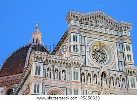 facade of the Basilica of Saint Mary of the Flower in Florence at sunset time light,  UNESCO World Heritage Site, Italy, Europe - stock photo