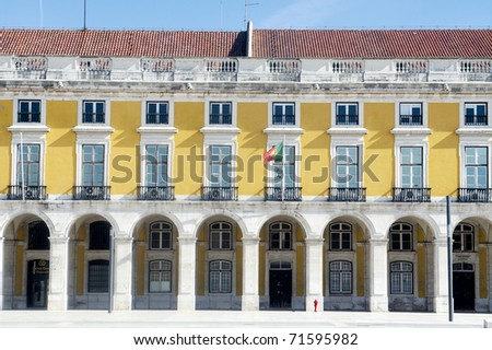 Facade of the building at Lisbon's Terreiro do Pa - stock photo
