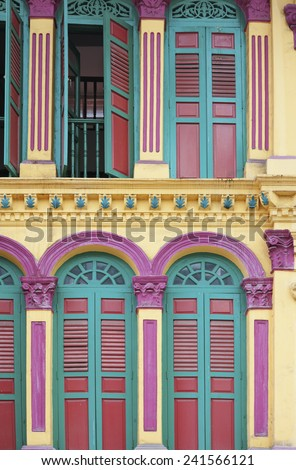 Facade of the building in China Town, Singapore
