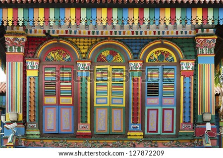 Facade of the building in Little India, Singapore - stock photo