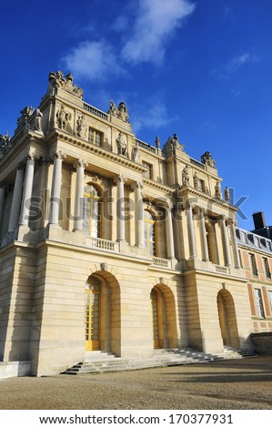 facade of the castle on the side of the orangery - stock photo