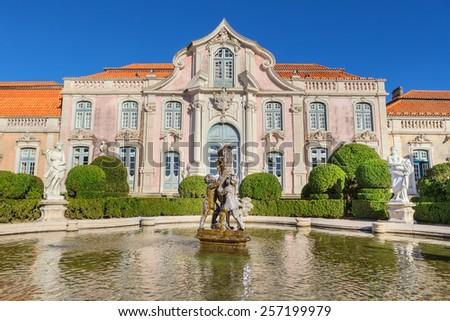 Facade of the castle Queluz of the king. Sintra Portugal. - stock photo