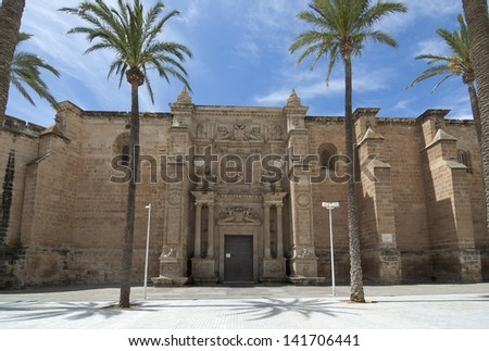 Facade of the Cathedral of Almer�a - stock photo