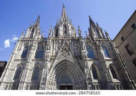Facade of the Cathedral of Barcelona, Spain