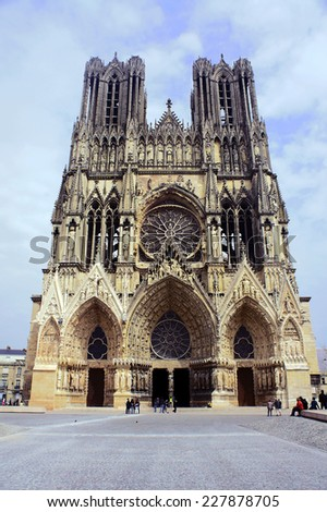 Facade of the cathedral of Notre-Dame de Reims, France - stock photo