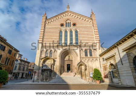Facade of the church of the San Fermo Maggiore (Saints Fermo and Rustico). Built in the romanesque and gothic style. Verona, Italy. - stock photo