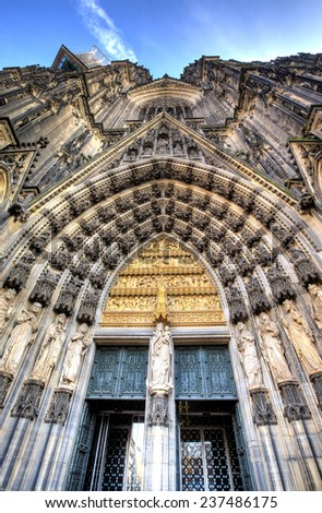 Facade of the Dom church in the city Cologne,  Germany - stock photo