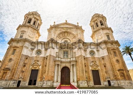 Facade of the famous Cathedral of Cadiz in Spanish: Iglesia de Santa Cruz, Cadiz, Andalusia, Spain. - stock photo