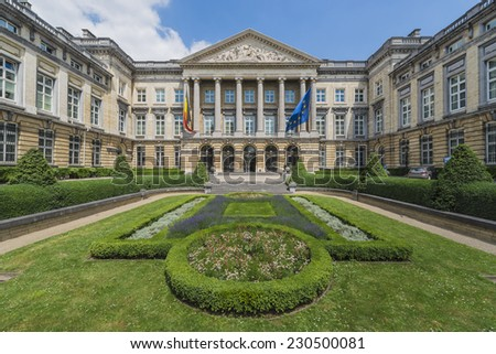 Facade of the Federal Parliament of Belgium in Brussels. - stock photo
