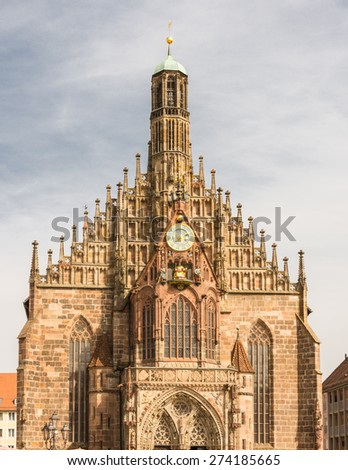Facade of the Frauenkirche in Nuremberg - stock photo